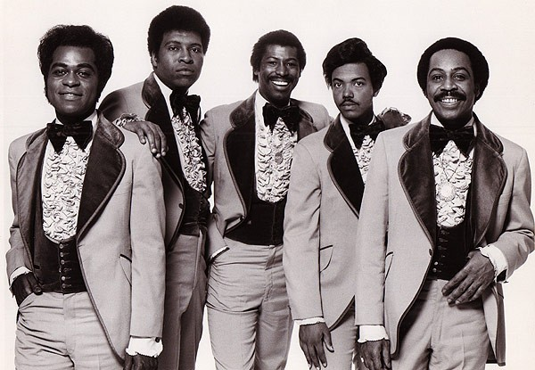 Harold Melvin & the Blue Notes, with Melvin at far right and Teddy Pendergrass at center