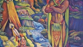 Detail of a WPA mural at Lane Technical College Prep depicting Hiawatha