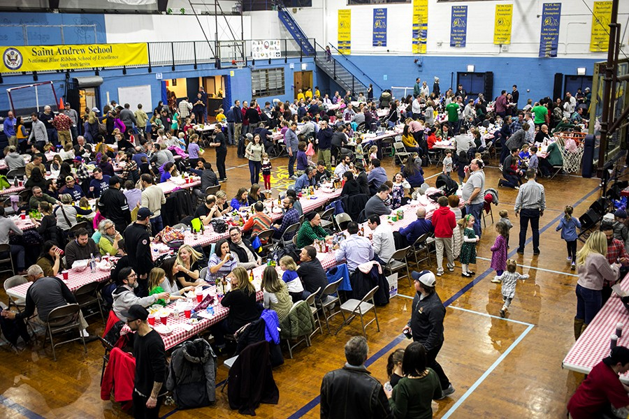 """Saint Andrew Parish in Lakeview hosted two Lenten fish fries, where an estimated 800 baskets sold each night. The fish fry tradition references the Bible parable of """"the feeding of the multitudes,"""" where Jesus and his disciples fed a crowd of 5,000 with only five loaves of bread and two fish."""