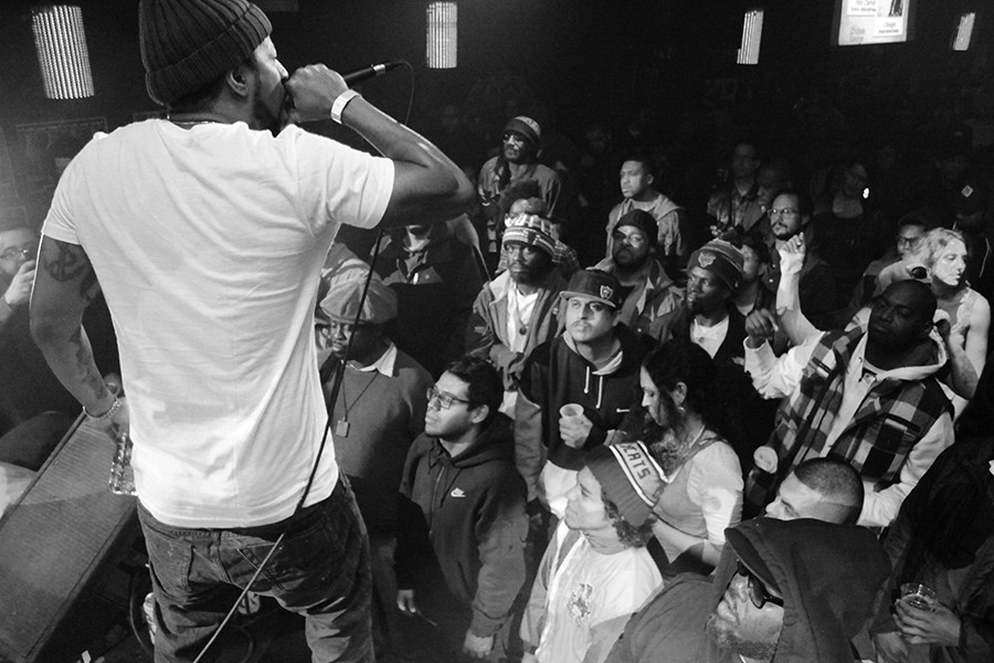 New York rapper Roc Marciano performs at Blue Groove's 20th-anniversary reunion at Double Door in 2014.