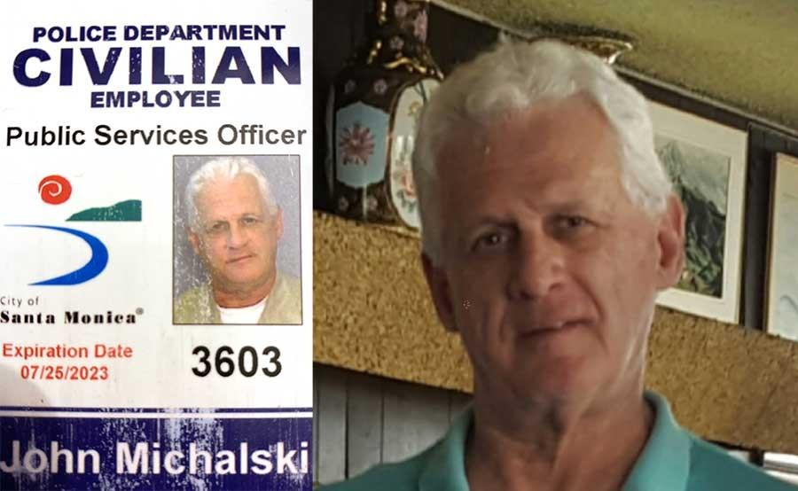 John Michalski's badge as a park ranger in Santa Monica, CA; Michalski in later years