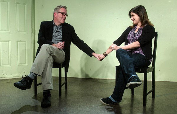 Michael McCarthy onstage with his wife, Susan Messing.