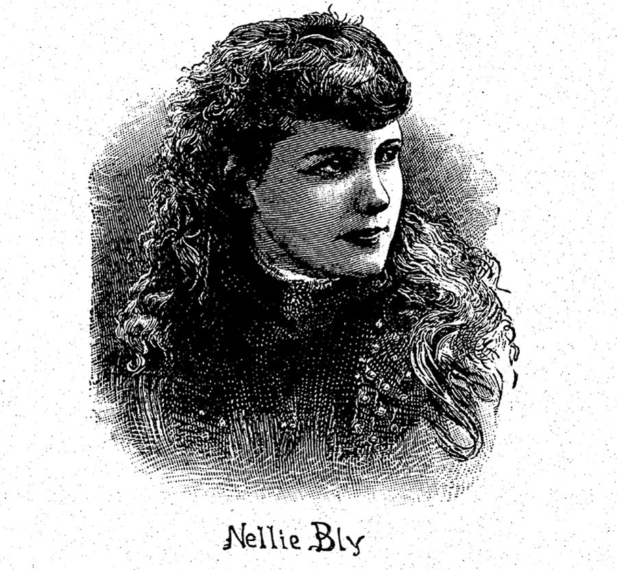 Illustration of Nellie Bly from <i>London Story Paper</i>, March 28, 1891
