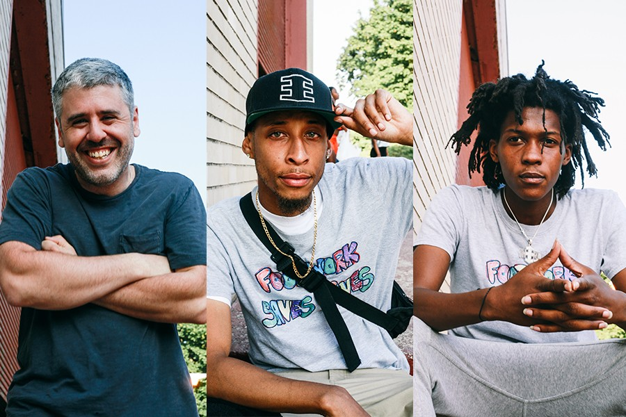 """From left: Wills Glasspiegel, Jamal """"Litebulb"""" Oliver, and Sterling """"Steelo"""" Lofton, all members of the Era. Glasspiegel and Litebulb helped found Open the Circle, and Litebulb and Steelo teach footwork for the group."""