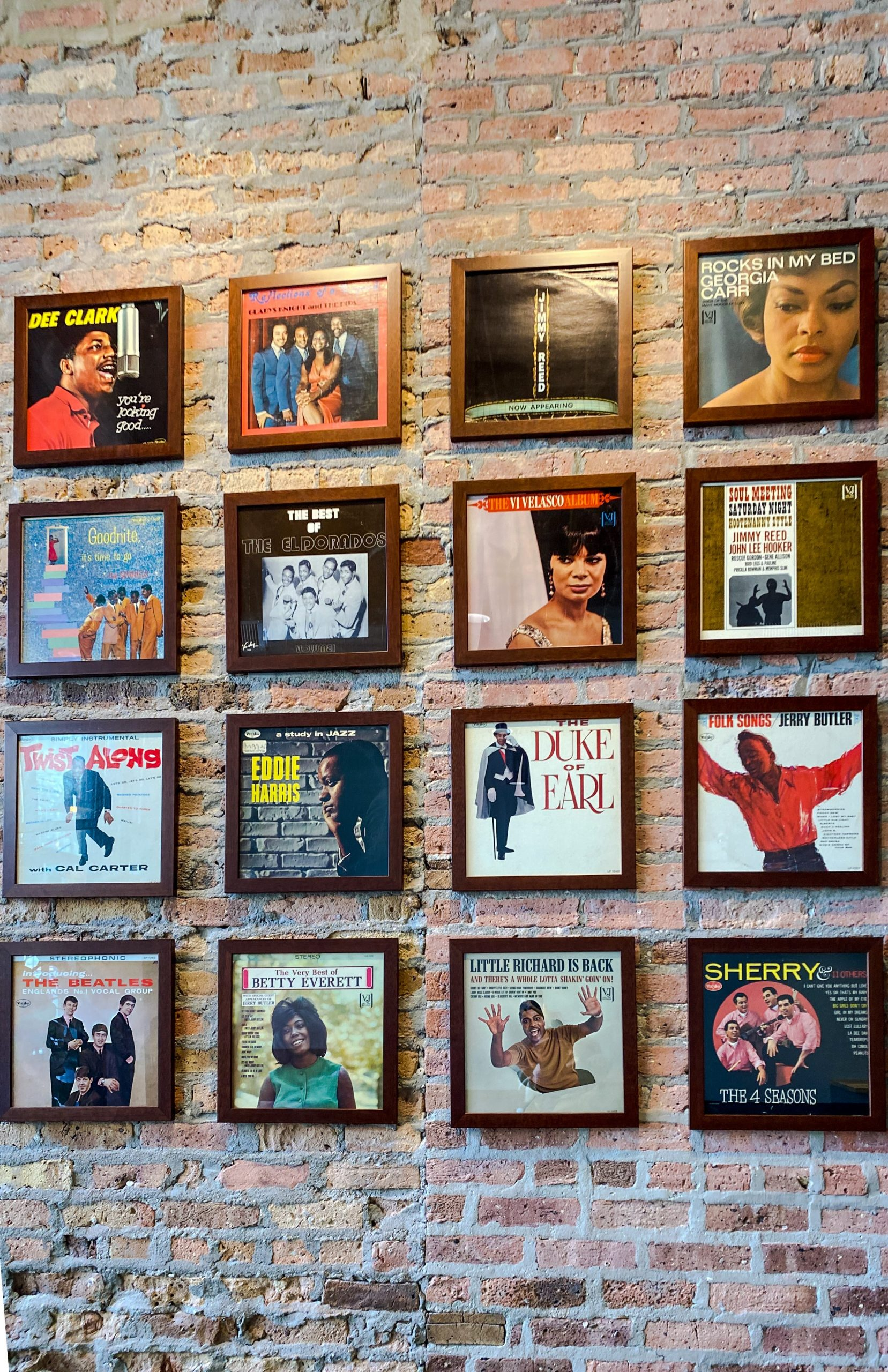 The walls of Overflow Coffee pay homage to Vee-Jay Records.