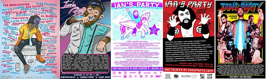 Ian's Party posters by Frank Okay (2016), Natali Wiseman (2009 and 2012), and Nic Campa (2018)