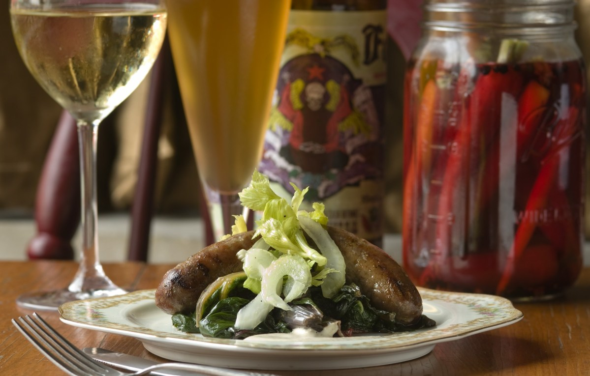 Cognac-lamb sausage with braised chard and celery hearts at Rootstock