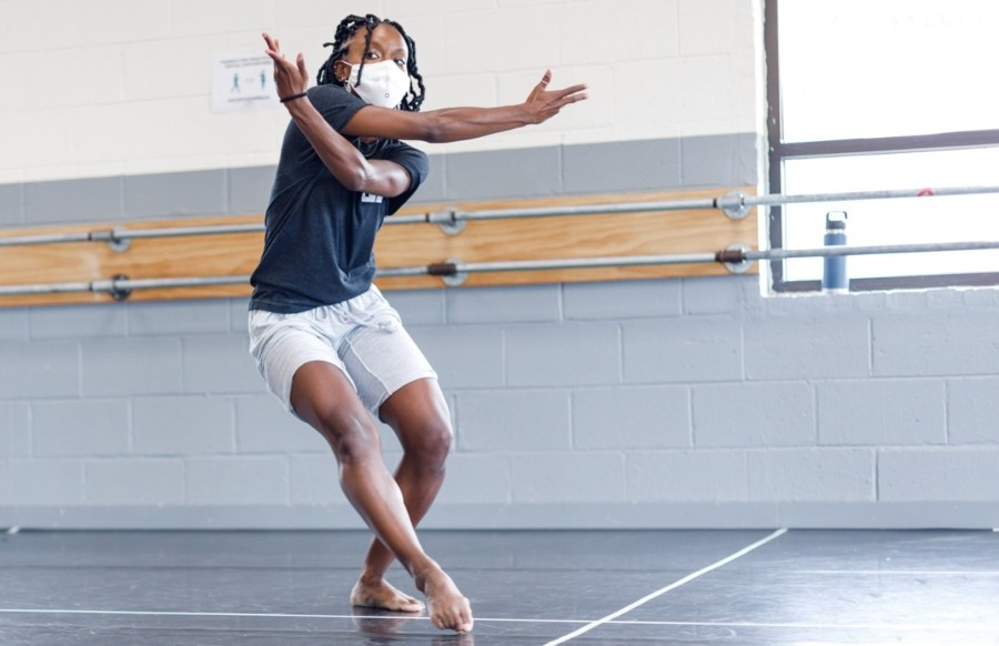 Simone Stevens in rehearsal for <i>Mood Swing</i>, one of the pieces in Cerqua Rivera's 2021 season.