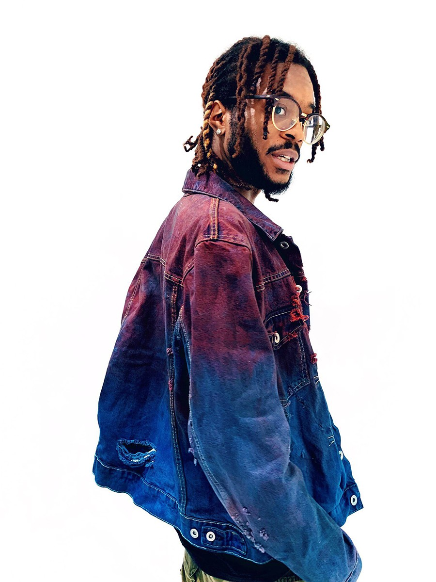 Hand-dyed and -distressed jacket by Ron Louis