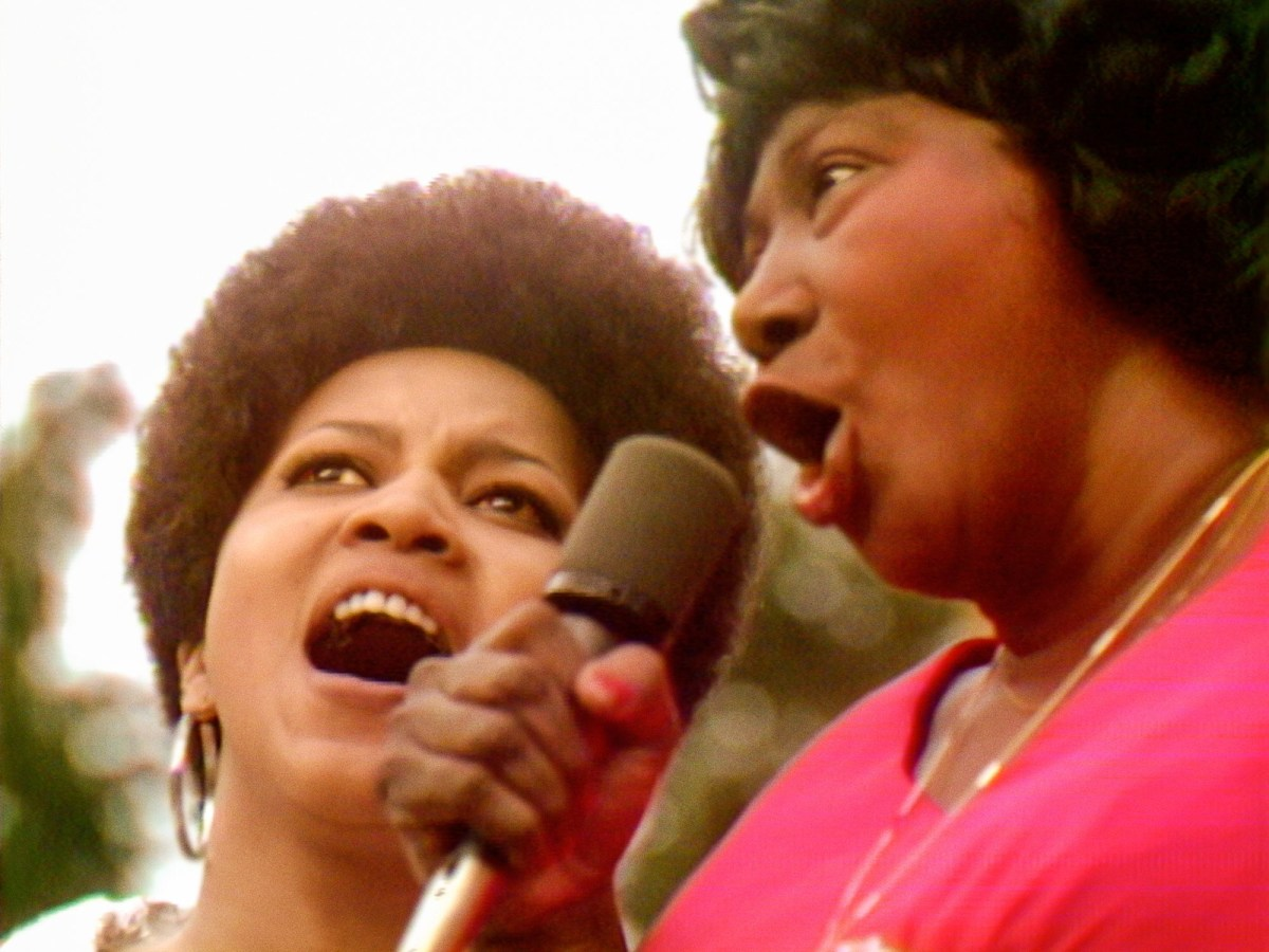 Mavis Staples and Mahalia Jackson perform at the Harlem Cultural Festival in 1969.