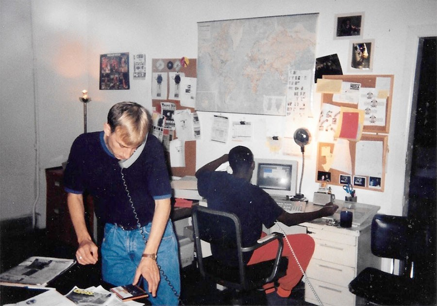 Terry Martin and Robert Ford in 1992 at <i>Thing</i> headquarters, housed in the apartment Ford shared with Trent Adkins. These offices were also home to <i>Crossfade</i> during its short life.