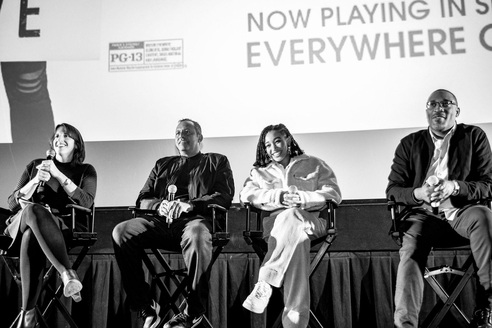 Rebecca Fons (left) leading a CIFF education screening of <i>The Hate U Give</i>.