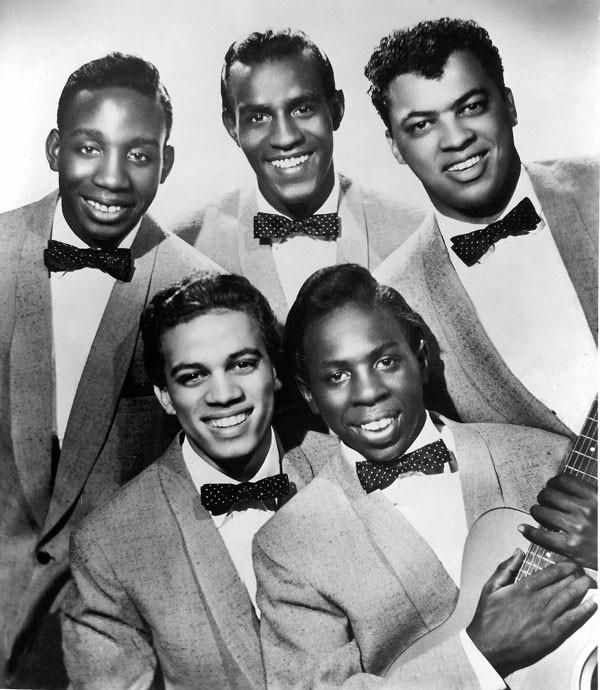 The Impressions circa 1958 (top) Jerry Butler, Sam Gooden, Arthur Brooks (bottom) Richard Brooks, Curtis Mayfield