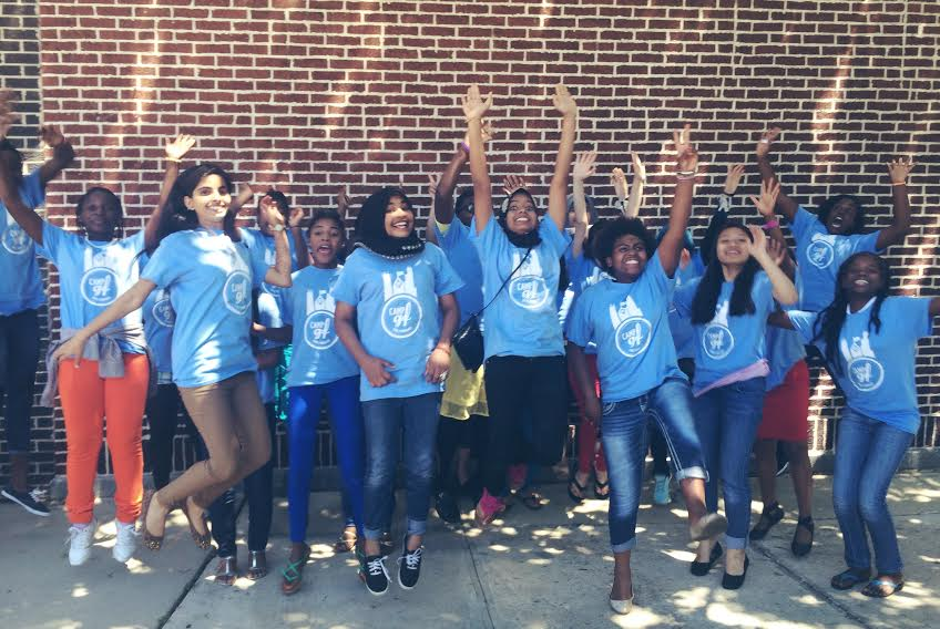 The group of girls who participated in GirlForward's 2015 summer camp