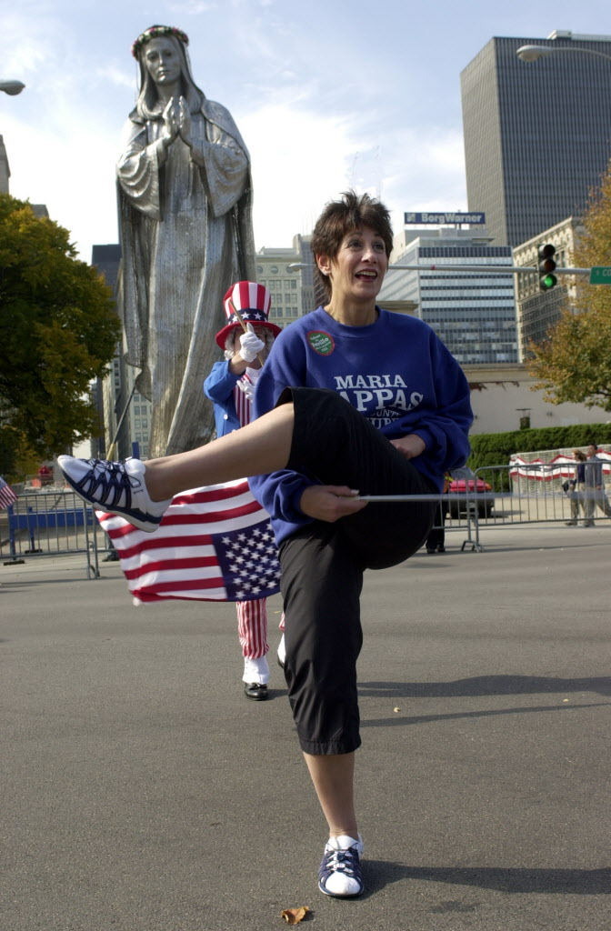 Pappas was a majorette as a schoolgirl in small-town West Virginia. She continued to put her baton-twirling skills on display as an elected official making appearances at Chicago's various civic functions. Here she is at the 2001 Columbus Day Parade.