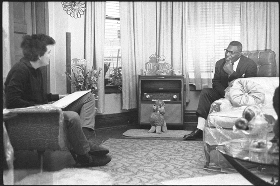 Mike Bloomfield interviewing Howlin' Wolf (Chester Burnett) at Burnett's home in Chicago in 1964