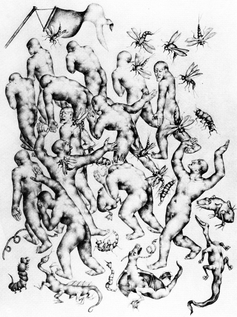 <em>Divine Comedy (The Opportunists, Smitten by Monstrous Insects)</em>, graphite, 1927-28
