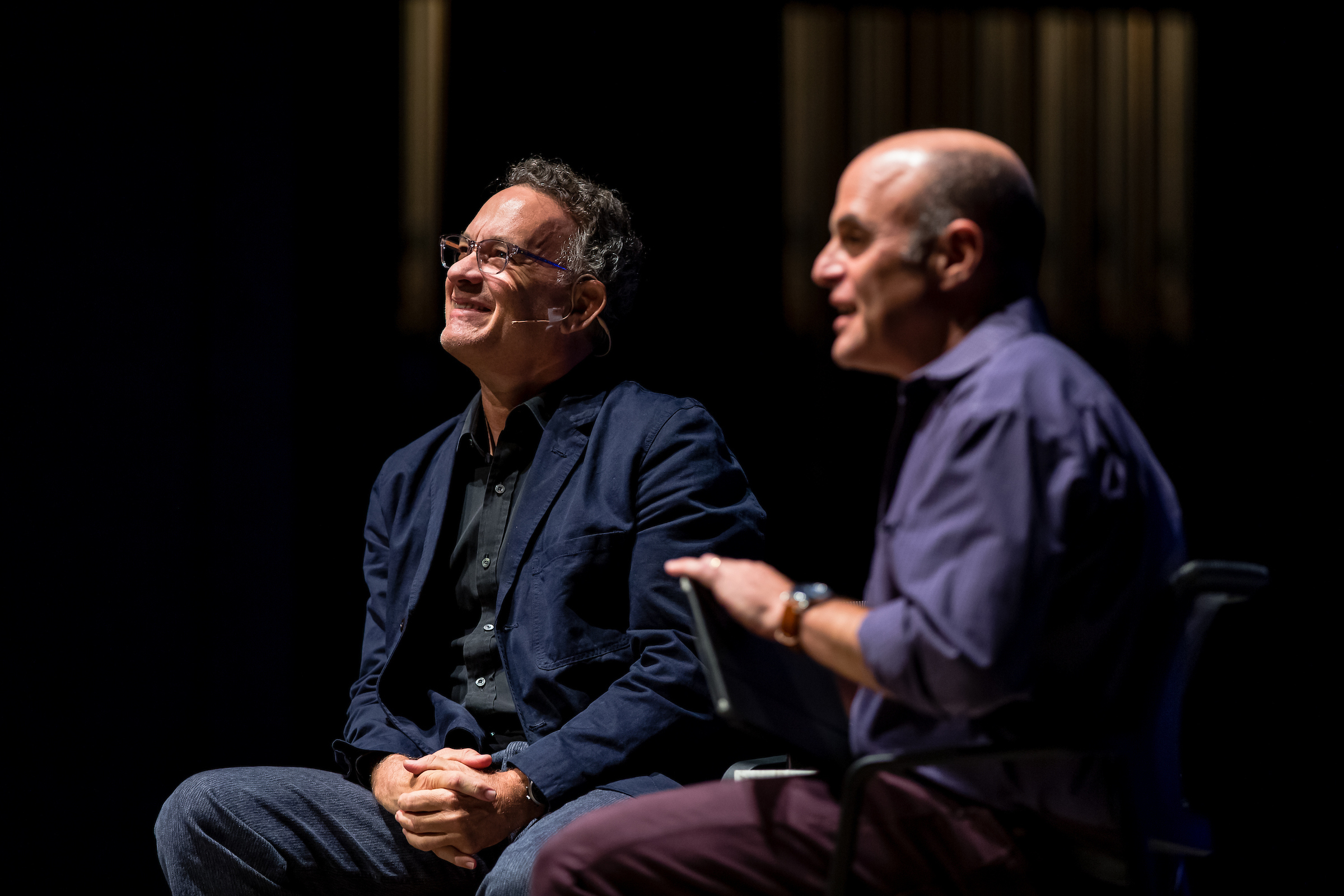 Hanks and Sagal, admiring the simultaneous transcription