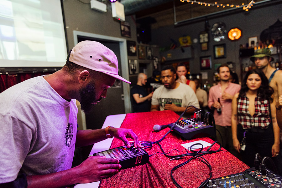 Sev Seveer performs with a Boss SP-303 sampler at Open Beats.