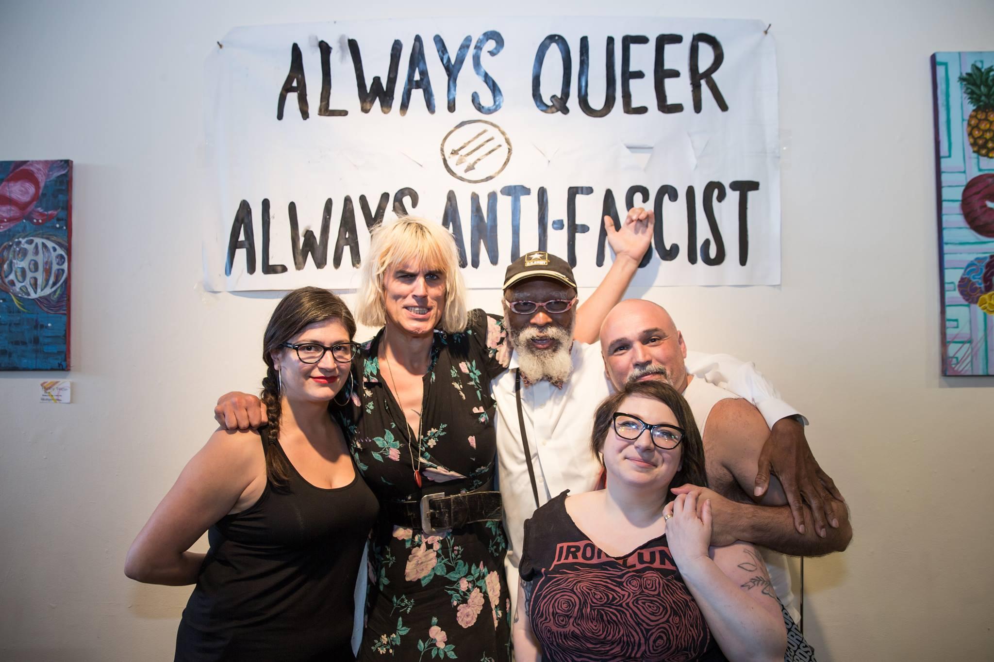 Left to right: Mariam Bastani, Jill Flanagan (who performs as Forced Into Femininity), Travis, Jes Skolnik, and Martin Sorrondeguy