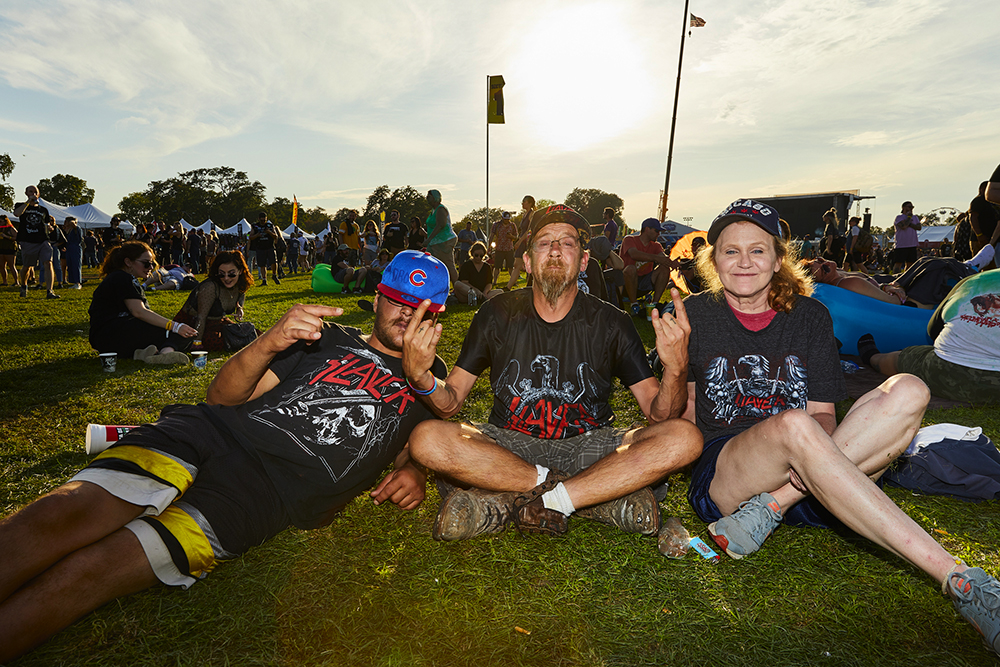 Dro, Bryan, Kimmy (Left to Right).  Bryan has seen Slayer 18 times, the first time at the Aragon in 1990.  He was at Riot Fest to see Slayer's final performance in Chicago.