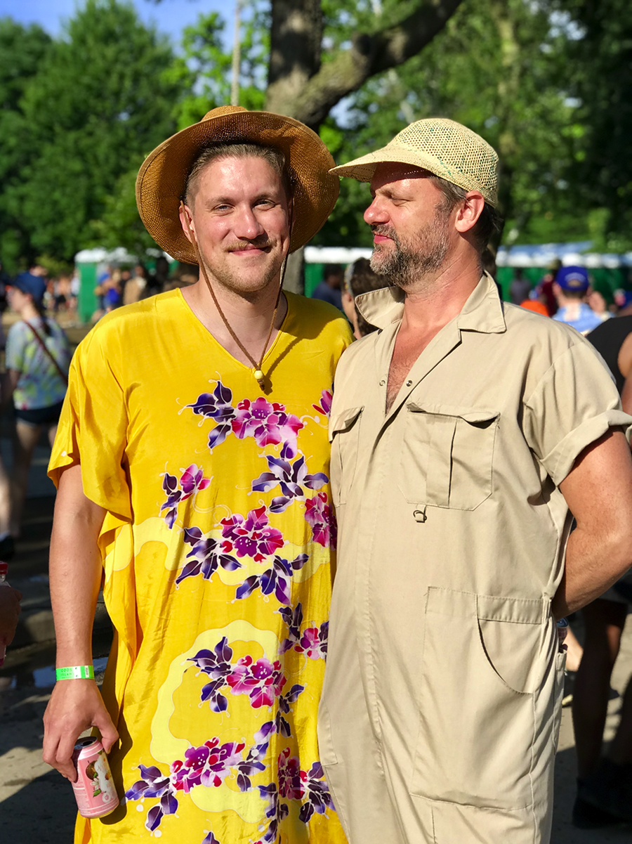 Sean Burpee and Michael Andrews found comfort in a thrifted dress and a jumpsuit from the women's section at Urban Outfitters.