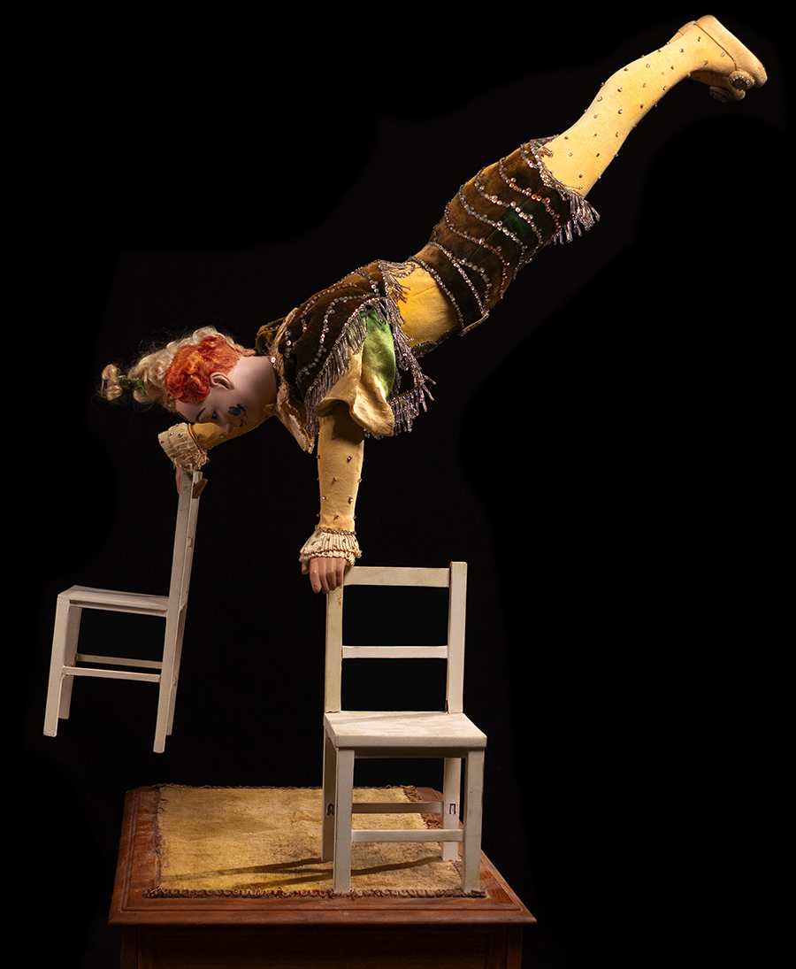 <i>Clown Acrobat with Two Chairs Automaton</i>, Vichy, ca. 1895