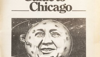 This Bob August illustration dominated the cover of the <em>Reader</em>'s Fifth Anniversary Guide to Chicago, October 1. On December 20, Mayor Richard J. Daley dropped dead.