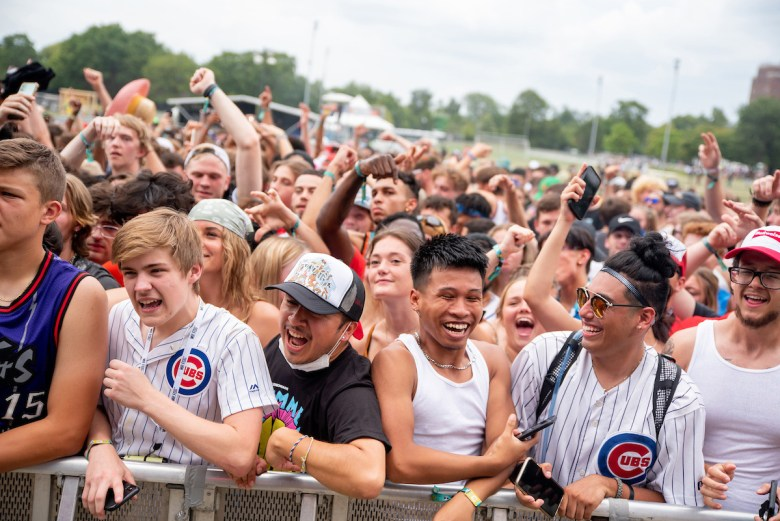 Crowds at the Lyrical Lemonade Summer Smash in Douglass Park during the set by Chicago rapper Lil Eazzyy on Saturday, August 21, 2021.