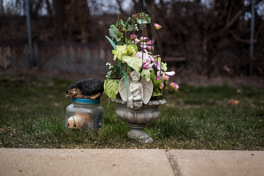 A memorial to Carli marks the spot on the driveway where she died.