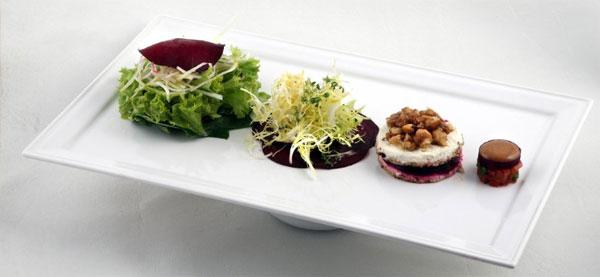 Insalata con carpaccio di bietole, relish di pomodoro, and caprino at Accanto