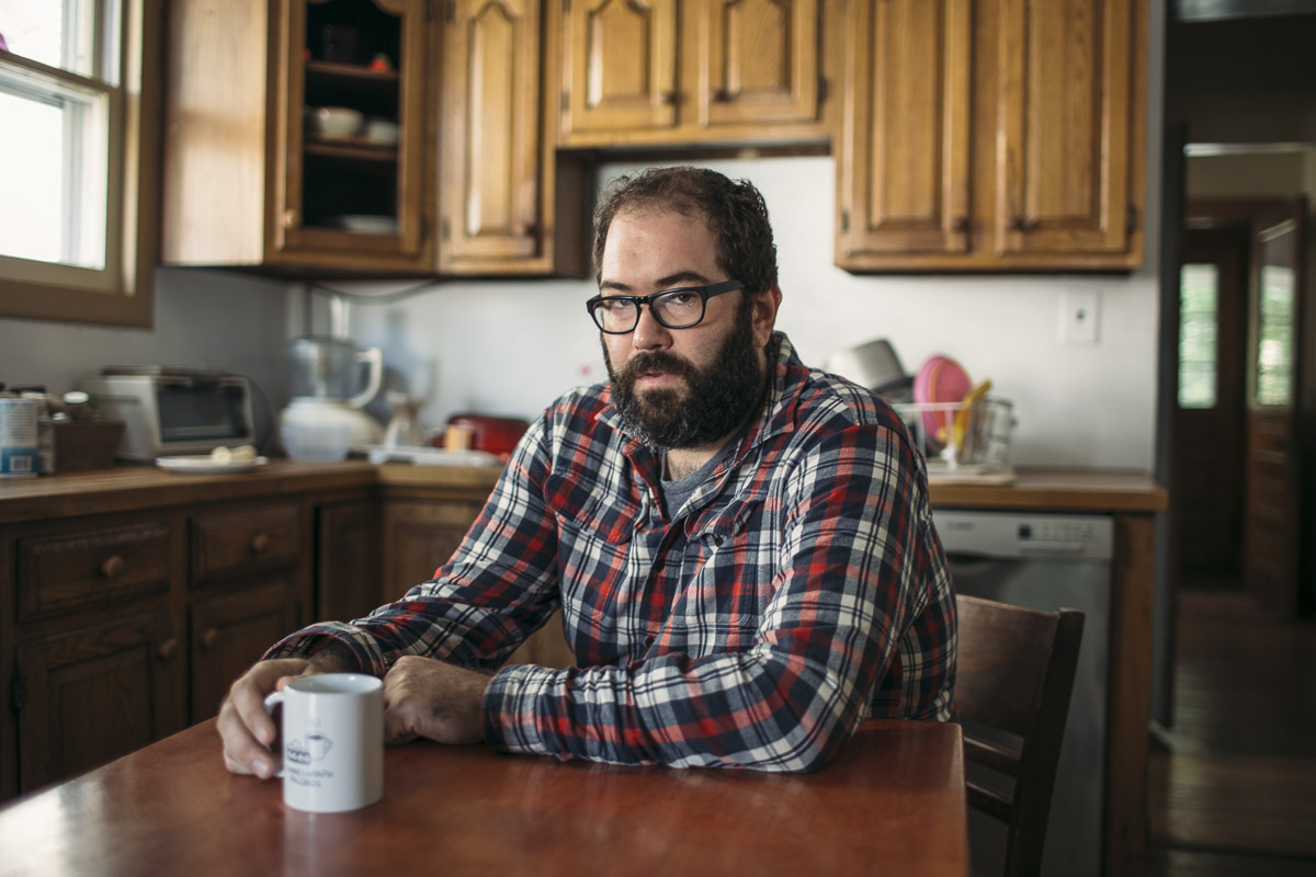 Ashworth in his kitchen, which is miraculously clean considering that he and his wife have two kids younger than four