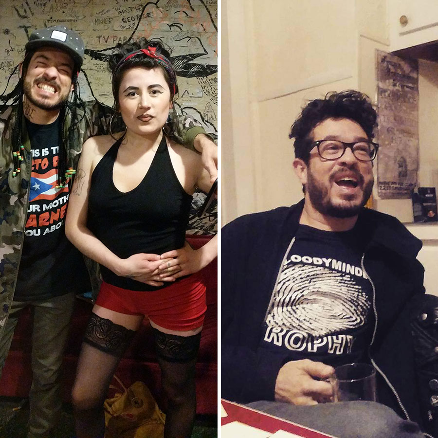 Alejandro and his friend Mariapaz Camargo cohosted the annual Chili-Synthesizer Cook-off at the Empty Bottle a couple years running. At left, they're in costume for the 2017 show; the photo on the right is from a scheming session for the 2016 cook-off.