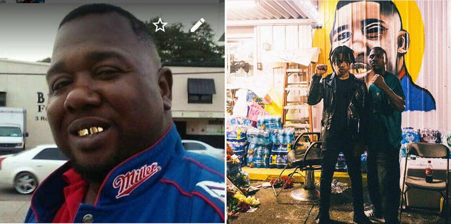 Vic Mensa posted these photos to Instagram earlier this month. To the left is Alton Sterling, killed by police on July 5 outside the TripleS Food Mart in Baton Rouge. To the right are Mensa and an unidentified man standing in front of a new mural of Sterling painted on the wall of the store.