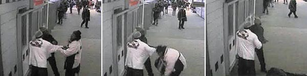 Officer Alvin Weems shoots Michael Pleasance at the 95th Street Red Line station. Weems is wearing the light hat and dark jacket. Pleasance is the one in the dark hat and white parka.