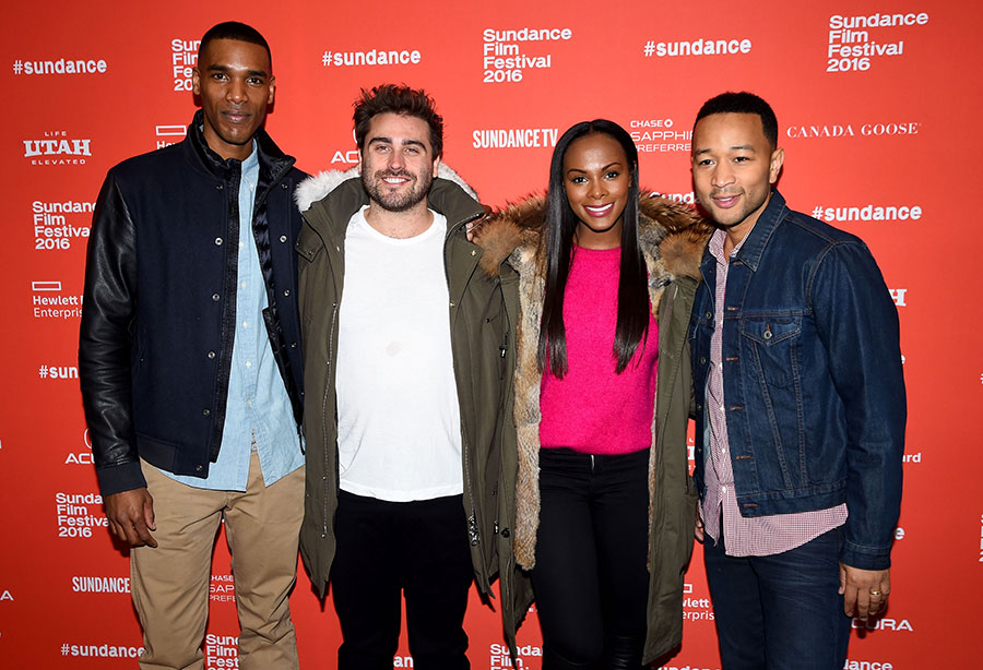 From left to right: Parker Sawyers, Richard Tanne, Tika Sumpter, and  John Legend at the <i>Southside With You</i> premiere during the 2016 Sundance Film Festival
