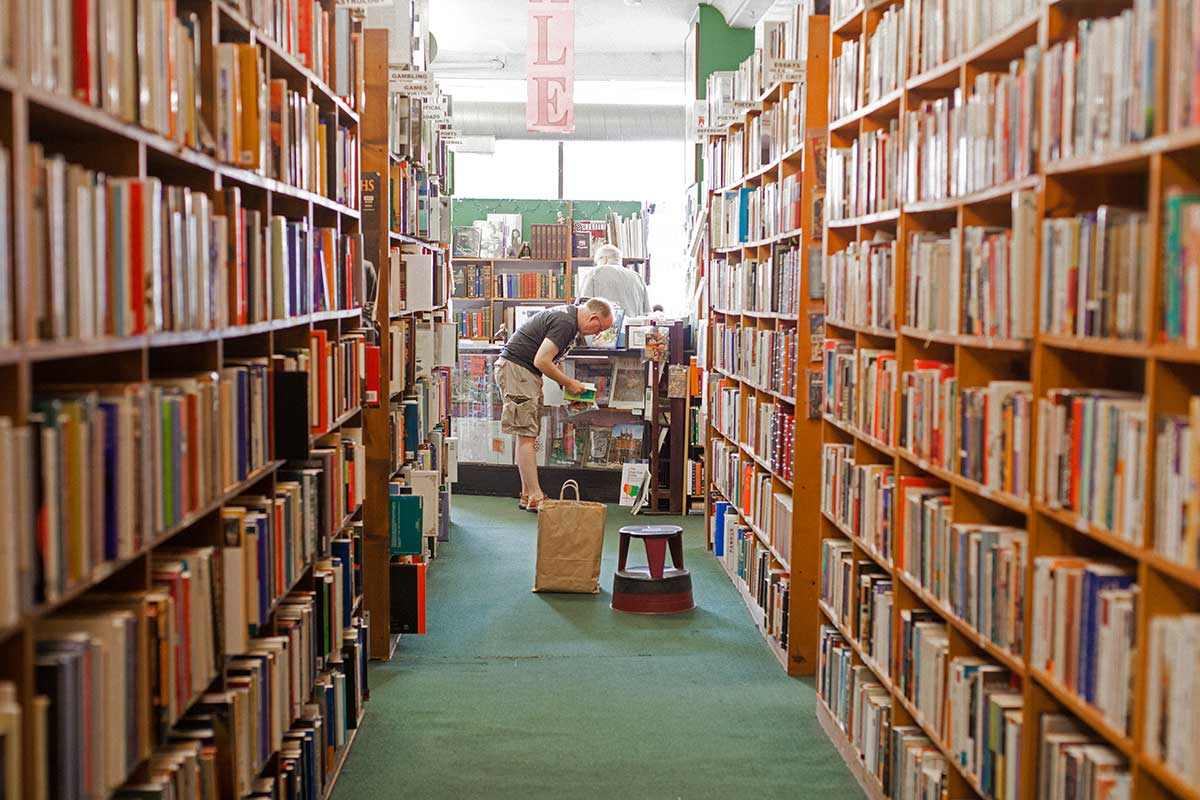 A customer browses Bookworks' extensive collection of titles.