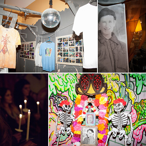 Images from the April tribute to Ellingsen, clockwise from upper right: A picture of Ellingsen as a young man; Carrie Vinarsky's Grateful Ray Altar; amemorial candle ceremony; an exhibit of Ellingsen's band T-shirts and photos
