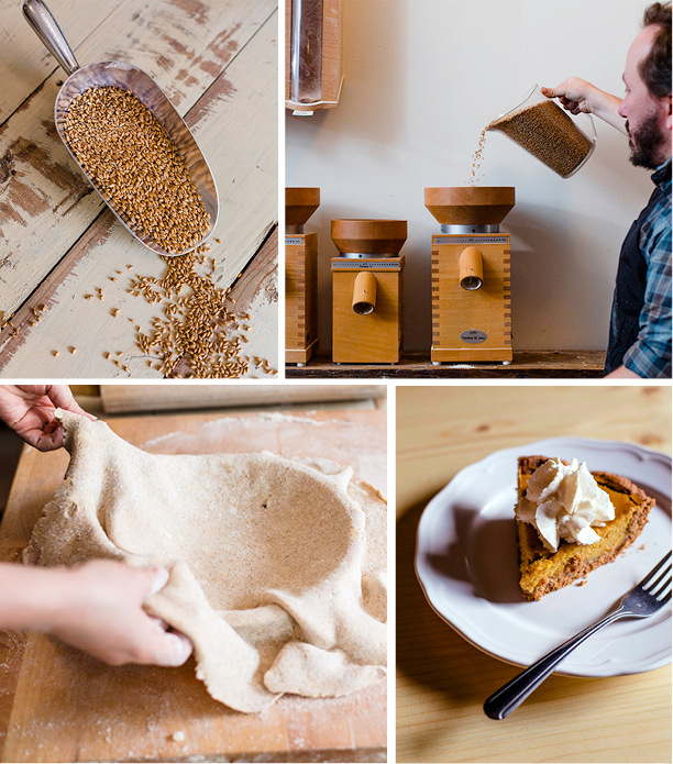 Dave Miller demonstrate how to transform raw grain into Megan's great-grandparents' butterscotch pie.