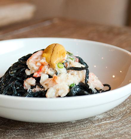 Tagliolini nero with crab, sea urchin, and chiles