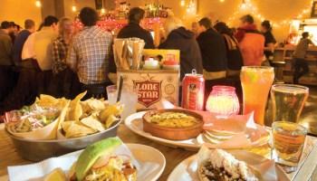At Big Star: chips and guac, queso fundido, fish tostada, lamb taco, Michelada