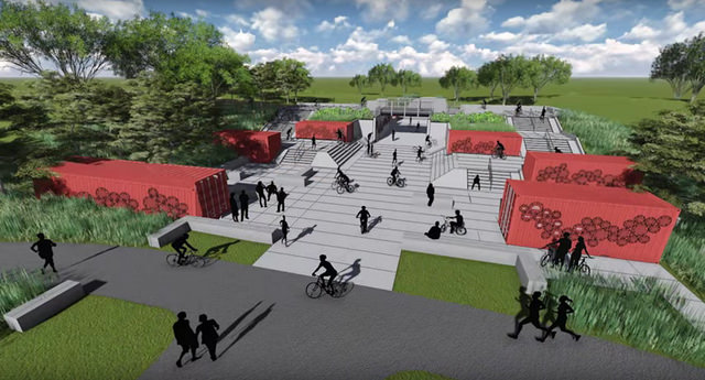 A rendering of some of Big Marsh's proposed bike amenities.