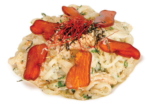 Udon noodles with bottarga, shiso, bonito flakes, Parmesan, and dried chiles