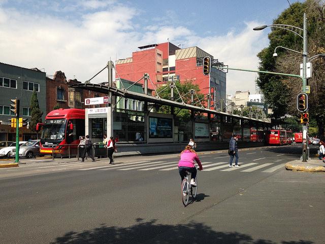 A Metrobús station on Mexico City's Avenida de los Insurgentes.