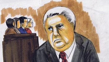 Courtroom sketch of Jon Burge as he was convicted, Monday, June 28