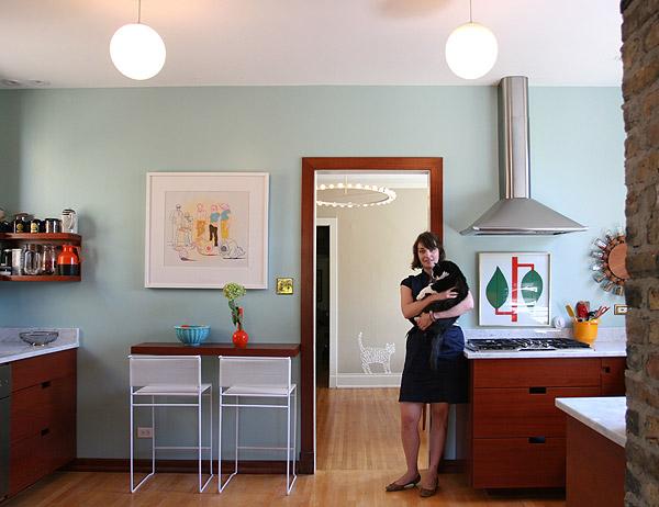 Christen Carter in her Palmer Square kitchen.