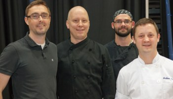 Chef Paul Fehribach, second from left, at Baconfest 2012.