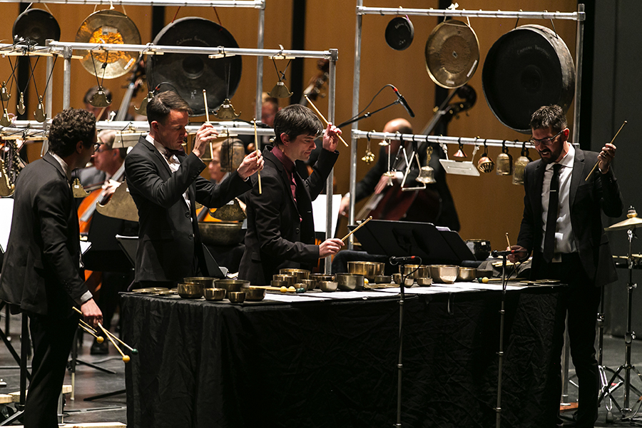 Third Coast Percussion perform their first commissioned concerto, Augusta Read Thomas's <i>Sonorous Earth</i>, at the Harris Theater in November 2017.