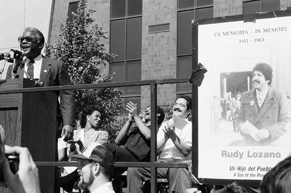Harold Washington and Garcia at a memorial for Rudy Lozano a year after his death