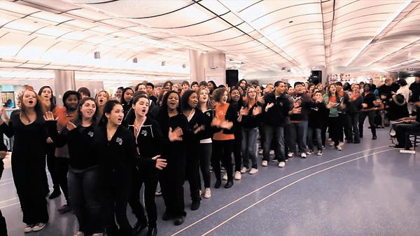 The Chicago Children's Choir at the Millennium Metra Station.